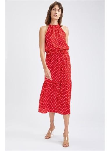 DeFacto Halter Yaka Volan Detaylı Kuşaklı Puantiye Desenli Midi Elbise Kırmızı